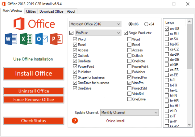 Office 2013-2019 C2R Install 6.5.5 + Lite 2019 - Free Office Installation